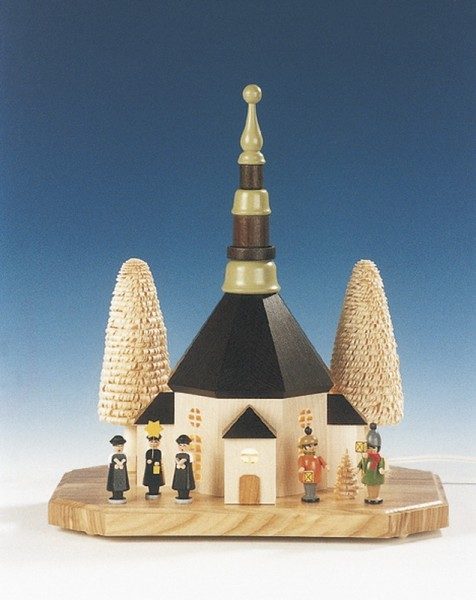 Sockelbrett Seiffener Kirche mit Kurrende und Laternenkindern, komplett elektrisch beleuchtet, 31 cm, Knuth Neuber Seiffen/ Erzgebirge