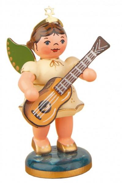 Weihnachtsengel mit Konzertgitarre von Hubrig Volkskunst GmbH Zschorlau/ Erzgebirge ist 7 cm groß.
