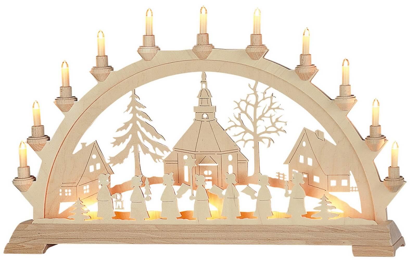 KWO Schwibbogen Seiffener Kirche mit Kurrende elektrisch beleuchtet