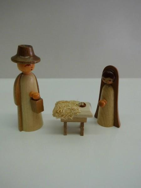 Weihnachtsfiguren Krippenfiguren, 3 - teilig, farbig, 5 cm, Nestler-Seiffen.com OHG Seiffen/ Erzgebirge