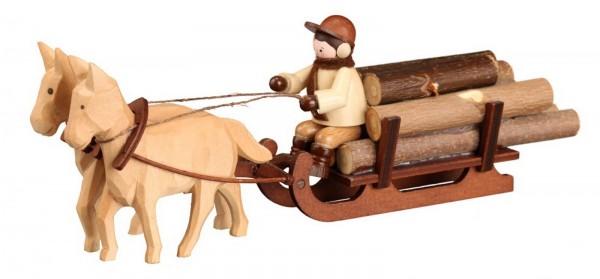 Hören Sie auch schon das Pferdegespann Schlitten in natur von Romy Thiel Deutschneudorf/ Erzgebirge? Schnell muss das letzte Holz noch heim gebracht werden. …