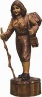 Vorschau: Wandersfrau, gebeizt, geschnitzt, in verschiedenen Größen