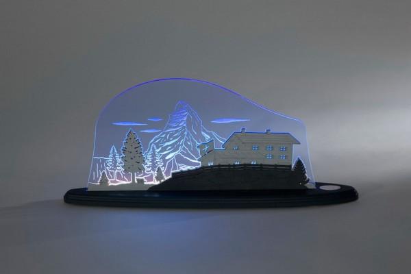 """LED Motivleuchte Matterhorn von Weigla - Günter Gläser Deutschneudorf/ Erzgebirge Die Motivleuchte """" Matterhorn """" besteht aus bläulich scheinenden flourescent …"""