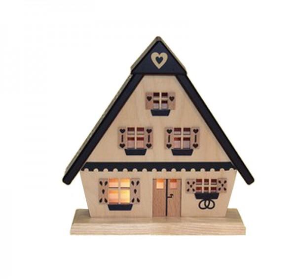Lichterhaus Pfefferkuchenhaus, elektrisch beleuchtet, 15 cm, Spielwarenmacher Günther Seiffen/ Erzgebirge