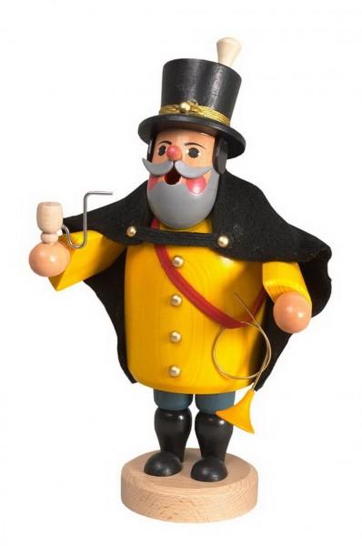 Räuchermännchen Postillion von Karl Werner Sayda / Erzgebirge Typisch bekleidet mit der gelben Postillionuniform geht es frisch ans Werk. Das Posthorn am …