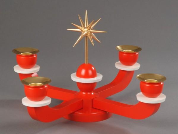 Adventsleuchter, rot mit Weihnachtsstern von Albin Preißler aus Seiffen/ Erzgebirge, Adventsleuchter aus massivem Buchenholz, Stern in Handarbeit gefertigt …