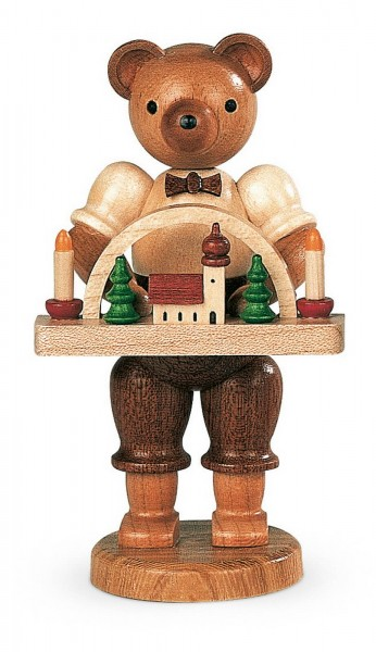 Dekofigur Bär Spielzeugmacher aus Holz, naturfarben von Müller Kleinkunst aus Seiffen