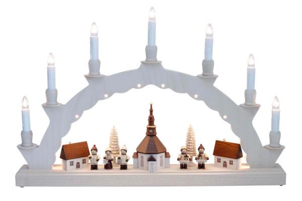 LED Schwibbogen von Nestler-Seiffen mit dem Motiv Seiffener Dorf mit Thiel Kinder und 2-facher Beleuchtung_Bild1
