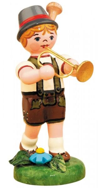 Junge mit Trompete aus Holz aus der Serie Hubrig Musikkinder
