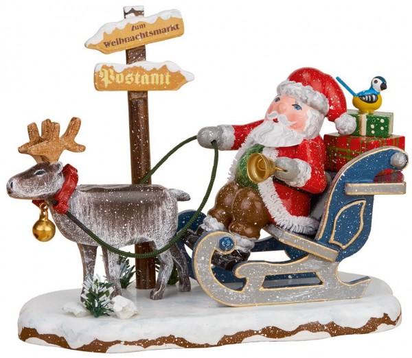 Weihnachtsmann mit Rentierschlitten aus der Serie Hubrig Winterkinder