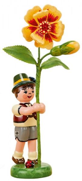 Blumenkind Junge mit Tagetes, 11 cm von Hubrig Volkskunst GmbH Zschorlau/ Erzgebirge