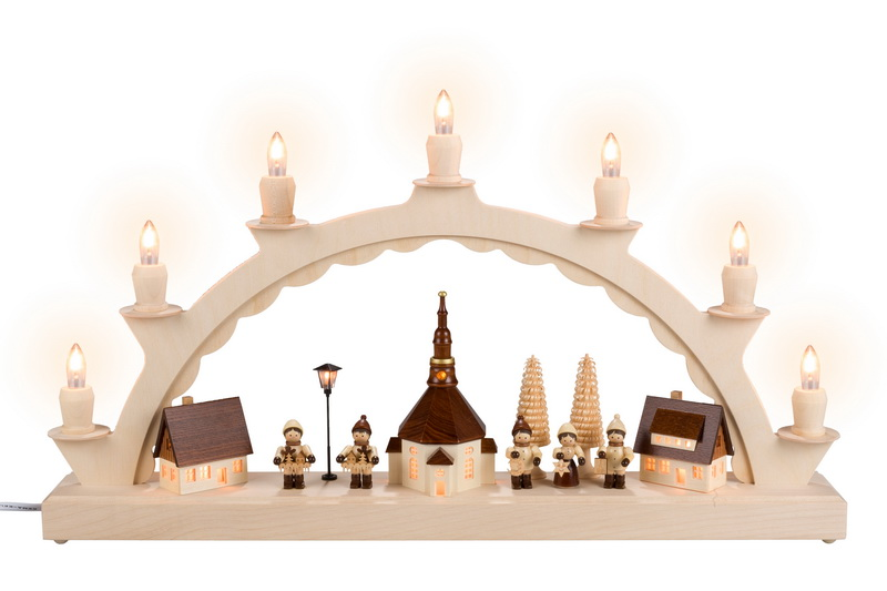 Schwibbogen Seiffener Dorf mit Thiel Kinder und beleuchteter Straßenlaterne und beleuchteter Kirchturmuhr, komplett elektrisch beleuchtet, 50 x 28 cm, …