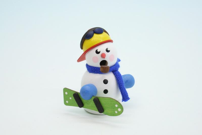 Räuchermann Schneemann mit Snowboarder, weiß, 8 cm, Gerd Hofmann Seiffen/ Erzgebirge