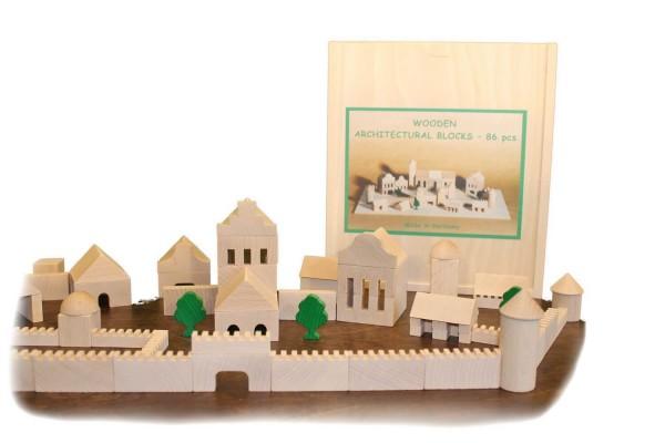 Bausteine und Bauklötze sind eines der ältesten Spielzeuge für Kinder.Der Baukasten Architektur bietet mit seinen 86 Holzbausteinen viele …
