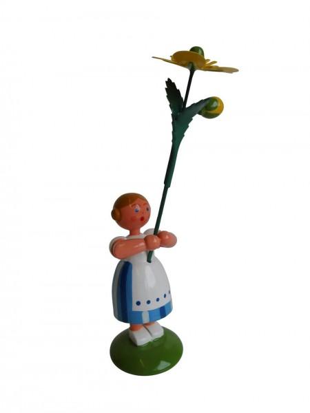 Blumenkinder - Sommerblumenkind Mädchen mit Butterblume, 12 cm von WEHA-Kunst Dippoldiswalde/ Erzgebirge