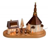 Vorschau: Sockelbrett Seiffener Dorf mit Kurrende, komplett elektrisch beleuchtet, 22 x 27 cm, Nestler-Seiffen.com OHG Seiffen/ Erzgebirge