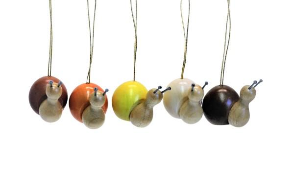 Nestler-Seiffen, Schnecken zum Hängen, 5 Stück, farbig