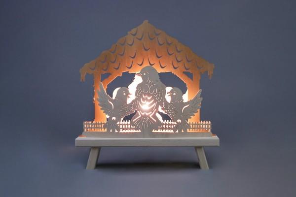 Schwibbogen & Standleuchte Vogelhaus, elektrisch beleuchtet, 30 x 32 x 4,5 cm von Weigla - Günter Gläser Deutschneudorf/ Erzgebirge Die Standleuchte …