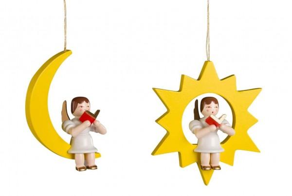 Christbaumschmuck Engel im Stern und im Mond hergestellt von Albin Preißler