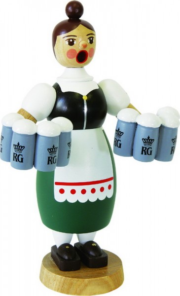 Richard Glässer Räuchermännchen Helga mit Maßkrügen, 18 cm