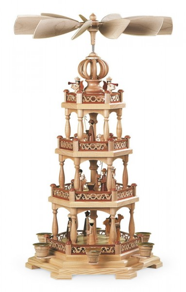 Weihnachtspyramide Heilige Geschichte mit Weihnachtsengeln, 3 - stöckig, natur, 28 x 28 x 55 cm, Müller GmbH Kleinkunst aus dem Erzgebirge