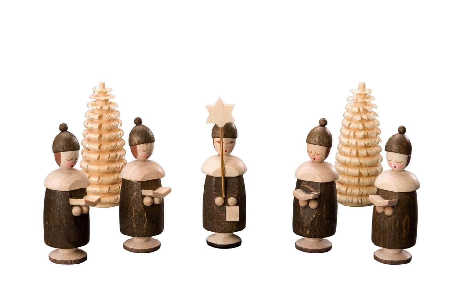 Albin Preißler Kurrendefiguren mit Mütze, 5 Stück und 2 Ringelbäumchen, natur