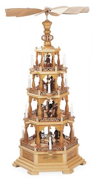 Weihnachtspyramide Heilige Geschichte, 4 - stöckig, elektrisch angetrieben und beleuchtet (120 V 50 Hz), 61 x 52 x 122 cm, Müller GmbH Kleinkunst aus dem …