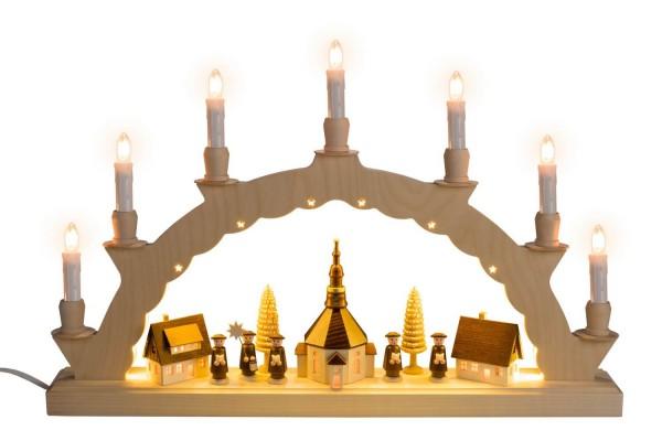Schwibbogen elektrisch beleuchtet mit dem Motiv Seiffener Dorf mit 3-facher Beleuchtung von Nestler-Seiffen_Bild1