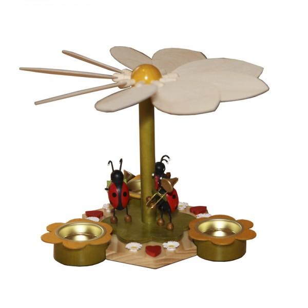 Frühlingspyramide mit Käfermusikanten, 19 cm von Volker Zenker Seiffen/ Erzgebirge