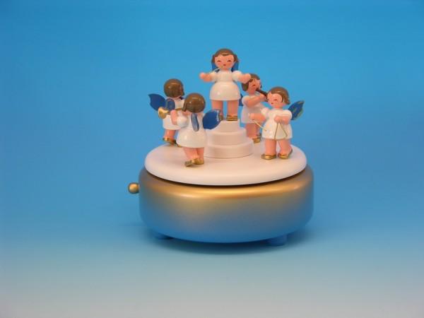 Spieluhr & Spieldose mit 5 Weihnachtsengeln, blaue Flüge, 13,0 x 13,0 x 14,0 cm, Frieder & André Uhlig Seiffen/ Erzgebirge