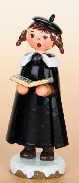Weihnachtsfigur Kurrendemädchen mit Buch und Zöpfen von Hubrig Volkskunst GmbH Zschorlau/ Erzgebirge ist 8 cm.