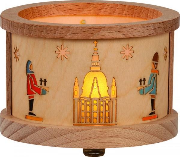 Teelichtlaterne mit Dresdner Motiven, 8 x 5,5 x 8 cm von Richard Glässer GmbH aus Seiffen/ Erzgebirge
