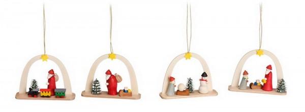 Christbaumschmuck & Baumbehang Weihnachtsmänner und Schneemann, 4-teilig, 6 cm Größe ca. 6 cm Material: heimische Hölzer, hochwertige Farben und Lacke …