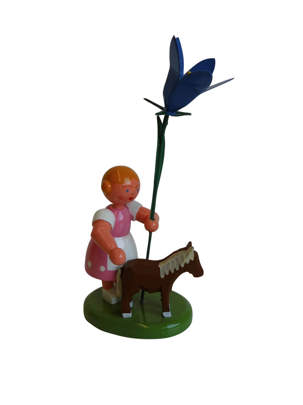 Blumenkinder - Blumenkind Mädchen mit Reifentier (Pony) und Glockenblume, 10 cm, WEHA-Kunst Dippoldiswalde/ Erzgebirge
