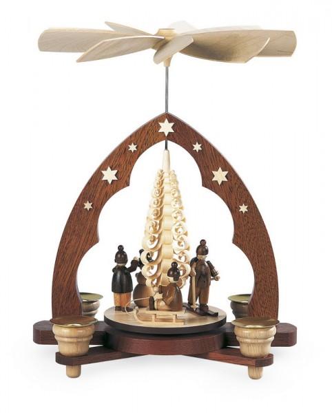 Weihnachtspyramide Winterkinder mit Spanbaum, natur, 22 x 15 x 28 cm, Müller GmbH Kleinkunst aus dem Erzgebirge