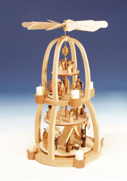 Teelichtweihnachtspyramide Christi Geburt, natur, 4 - stöckig, 70 cm, Knuth Neuber Seiffen/ Erzgebirge