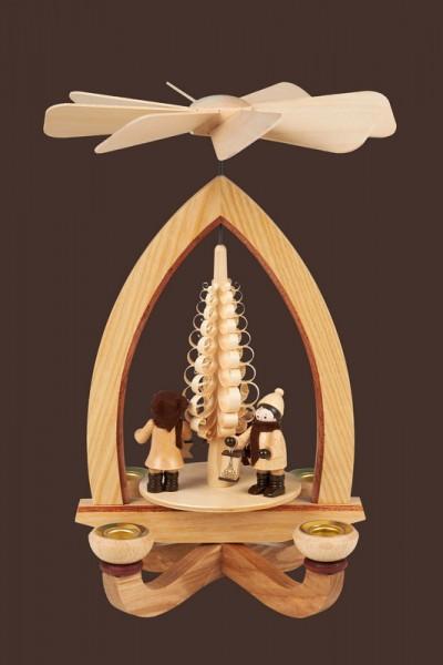 Weihnachtspyramide mit Lampionkinder (5,5 cm), natur, 28 cm, Heinz Lorenz Olbernhau/ Erzgebirge
