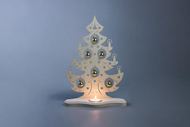 teelichthalter weihnachtsbaum mit goldenen kugeln kaufen. Black Bedroom Furniture Sets. Home Design Ideas