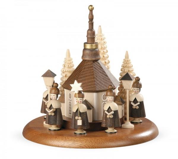 Motivplattform für Spieluhr von Müller Kleinkunst GmbH aus Seiffen/Erzgebirge, Motiv Seiffner Kirche mit Kurrende, natur
