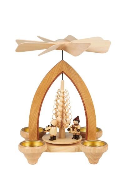 Weihnachtspyramide Striezelkinder für Teelichter, 26 cm hergestellt von Heinz Lorenz Olbernhau/ Erzgebirge_Bild1