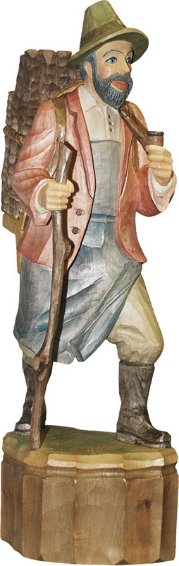 Schnitzkunst aus dem Erzgebirge Waldmann mit Pfeife, farbig, geschnitzt, in verschiedenen Größen_Bild2