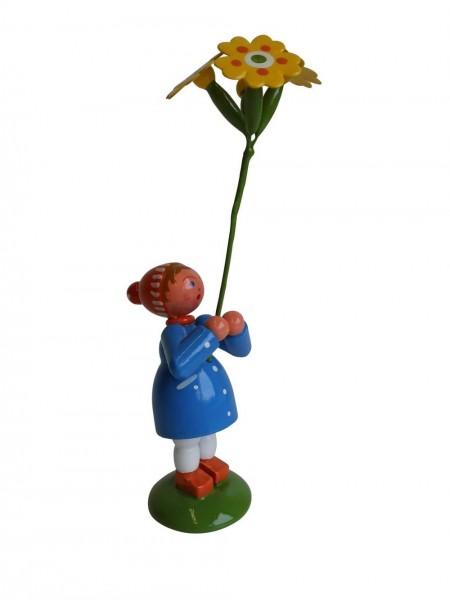 Blumenkinder - Blumenkind Mädchen mit Himmelschlüssel, handbemalt, 12 cm von WEHA-Kunst Dippoldiswalde/ Erzgebirge