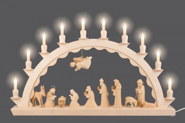 Schwibbogen mit geschnitzter Christi Geburt - Kleinschaftkerzen von Nestler-Seiffen
