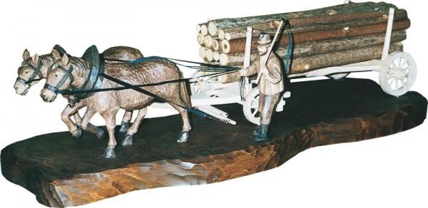 Holzfuhrwerk, gebeizt, geschnitzt, 60 cm
