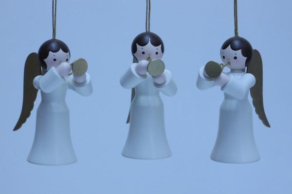 3 Weihnachtsengel, hängend, weiss mit Trompete