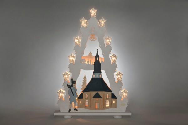 Schwibbogen Lichterspitze Seiffener Kirche, elektrisch beleuchtet, 52 x 67 x 6,0 cm von Weigla - Günter Gläser Deutschneudorf/ Erzgebirge Produktinformationen …