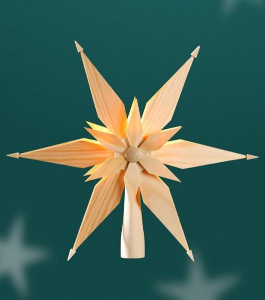 Christbaumspitze Holzstern, elektrisch beleuchtet mit Spitzkerzen 1 x 5 Watt/12 V mit Trafo, Durchmesser 27 cm, Martina Rudolph Seiffen/ Erzgebirge