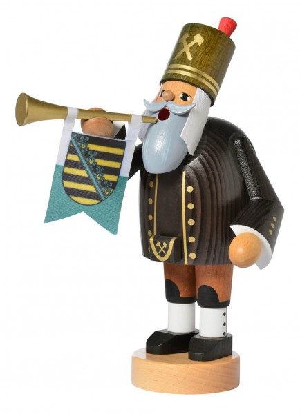 Räuchermann Bergmann mit Trompete, 20 cm von KWO Kunstgewerbe-Werkstätten Olbernhau/ Erzgebirge
