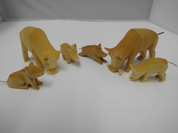 Nestler-Seiffen, geschnitzte Wildschweingruppe, 6 - teilig