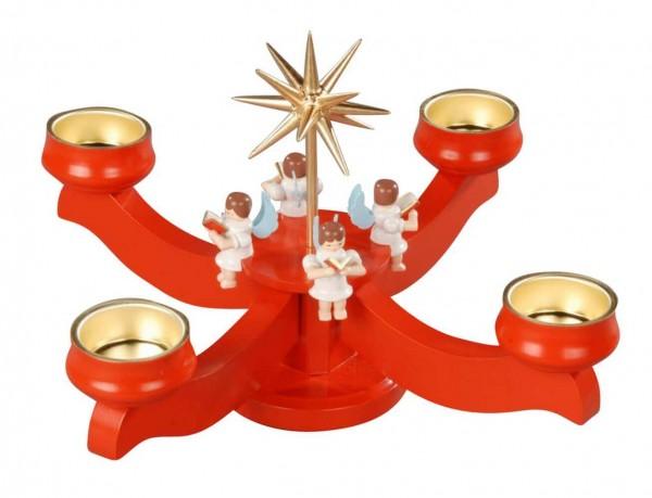 Albin Preißler Adventsleuchter mit 4 sitzenden Engeln, rot, für Teelichter